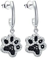 925 Sterling Silver Two-tone Pet Puppy Cat Paw Drop and Dangle Earrings NEW