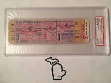 FULL! 1958 GAME 3 World Series New York Yankees v Milwaukee Braves Ticket PSA