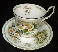 VTG QUEEN'S Bone China ROSINA Teacup & Saucer Set Special Flowers OCTOBER DAISY