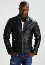 Genuine Black Leather Jacket New Men Slim fit Biker Motorcycle Size S M L XL A21