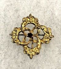 Stone - 1 1/8 Inch Diameter Antique Gold-Filled Repousse Watch Pin with Red