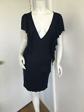 Urban Outfitters Lux V Front Open Back Dress Size XS Navy Raffles Sleeve