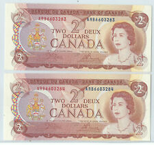 2 Sequential Serial Numbered 1974 Ungraded Crow-Bouey $2.00 Notes