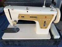 Vintage Singer Model 237 Sewing Machine W/ Case And Pedal. Made In France