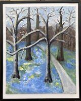 Else Bruhn 1910-2006 Bäume im Vorfrühling 47,5 x 38,5 cm Dänemark Moderne Kunst