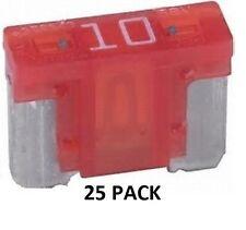 25 PACK - LOW PROFILE BLADE FUSES - 10 AMP AUTOMOTIVE MINI #ATM10LP-25PK