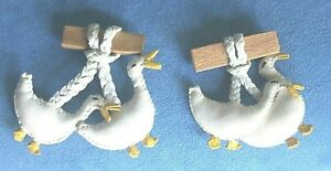 2 Vintage Designer HOLLYWOOD EXTRA California Leather Geese Goose Brooch Pins
