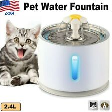 Stainless Steel Automatic 2.4L Pet Water Fountain For Cat Dog Waterer Dish Bowl