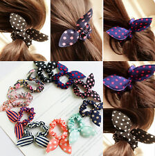 10pcs Rabbit Bunny Ears Dotted Hair Ties Scrunchie Ponytail Holder HairBand Hot