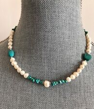 """Natural Turquoise & baroque Freshwater Pearls choker Necklace 17"""" 925 SS New"""