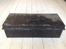 Vintage Black Metal Trunk Chest John Pound & Co The Strand 25 X10 X 7""