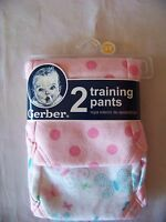 New Gerber 2 Training Pants Sz. 3T White/Pinks. 100% Cotton