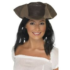 Women's Brown Leather Look Pirate Hat & Hair Fun Fancy Dress Hen Film Theme
