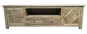 PACCO RUSTIC TELEVISION ENTERTAINMENT UNIT 2-DOORS/2-DRAWERS RECYCLE  ELM 200CM