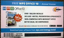 WPS Office 10, 1 PC / 1 Yr,  Suite Similar to Microsoft Word Excel Powerpoint