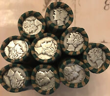 One Roll of 50 $5 Face Value 90% Silver Mercury Dimes