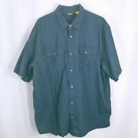 Cabelas Mens Short Sleeve Button Down Chest Pockets Shirt Blue Size 2XL