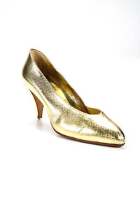 Andrea Pfister Womens Metallic Embossed Leather Slip On Pumps Gold Size 8 LL19LL