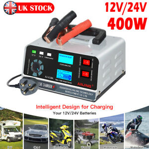 400W 40A 12V/24V Automatic Car Battery Charger Smart Pulse Repair Boat Trickle