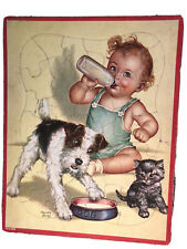Charlotte Becker Baby With Puppy And Kitten Tray Frame Puzzle