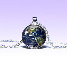 Planet Earth Pendant Planet NECKLACE Jewelery Charm Pendant Silver Jewelery