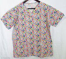 Scrubs women M nursing uniform floral shirt short sleeves pockets