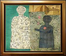 MAX PAPART ORIGINAL Gouache Painting Signed Portrait Cubism Artwork Rare Collage