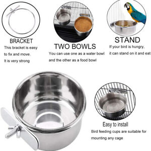 Parrot stainless steel food bowl food box food bowl water bowl food cup