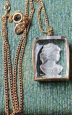 Vintage Sara Cov Glass Cameo Necklace