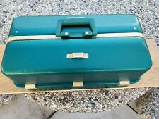 Vintage Umco 1000U Green Tackle Box 7 Tray With Small Amount of Tackle