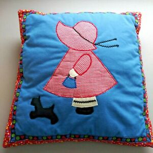 "Vintage 1980's Holly Hobby Nursery Children's BLue Pillow Handmade 15"" x 16"""