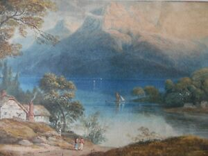Morning over Derwent Water to Borrowdale.1840 WC by William Crouch. Listed