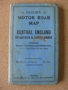 Vintage BACON'S Motor Road Map:Central England to London & South Coast