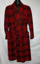 "VTG Pendleton M 40"" Red 100% Virgin Wool Robe Plaid Tartan Belt Roos Atkins"