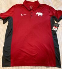 University Of Alabama Nike Dri-Fit L Large Crimson Red Gray Golf Polo Shirt New