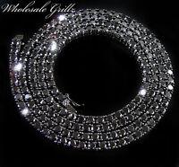 NEW $299 Mens Simulate BLACK Diamond on 14k BLACK Gold Gp CHAIN Hip Hop NECKLACE
