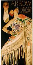 "J.C. Leyendecker, ARROW COLLAR Advertisement, Spanish Shawl, 20""x10"" CANVAS ART"