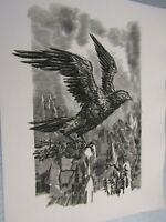Albert Decaris / Composition originale gravée sur cuivre / L'Envol de l'Aigle