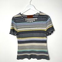 Missoni Italy Striped Knit Short Sleeve Multicolor Women's Rayon Top, Size 46
