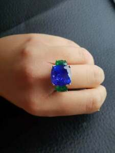 Royal Blue Large Cushion Shape 12.66CT Sapphire & 3CT Emerald Three Stone Ring