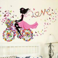 Cute Flower Girl Removable Wall Sticker Vinyl Decal Kids Room Home Mural Decor