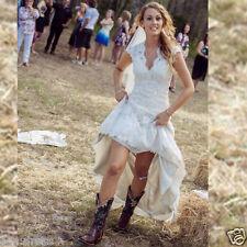 Front Short Long Back Wedding Dresses High Low Vintage Lace Wedding Dress Custom