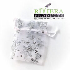Snow Flake White/Silver Organza Bags 7x9CM x20 Bags