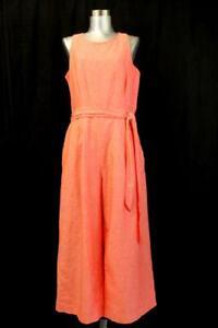 BANANA REPUBLIC Coral Pink LINEN WIDE LEG JUMPSUIT Tie Belt One-Piece Lined M 8