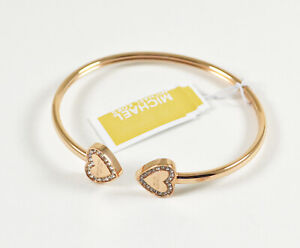 Michael Kors Flex Fit Heart Crystal Open Cuff Bangle Bracelet Rose gold color