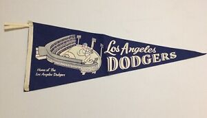 VINTAGE LOS ANGELES DODGERS FELT PENNANT 1950s *HOME OF THE L.A. DODGERS* RARE