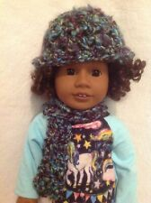 "American Girl doll 18"" Blue Purple teal hat/beanie & scarf winter outfit Clothes"