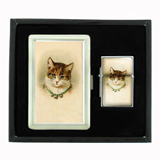 VINTAGE CAT D1 CIGARETTE CASE / WALLET AND LIGHTER GIFT SET OLD FASHIONED IMAGE
