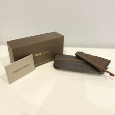 Giorgio Armani Sunglass Eyeglass Case W/ Cleaning Pouch Brown Authentic