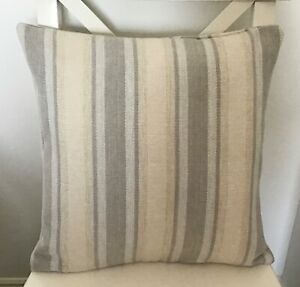 """WOOL TEXTURED STRIPED GREY NEUTRAL DOUBLE SIDED 16"""" X 16"""" CUSHION COVER"""